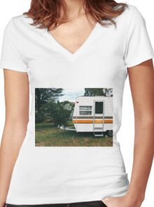 Vintage Trailer Old and Loved Women's Fitted V-Neck T-Shirt