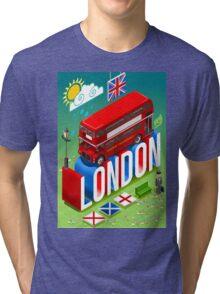 London-Bus-Postcard-Isometric Tri-blend T-Shirt