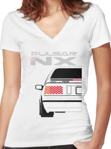 Nissan NX Pulsar Coupe - White Women's Fitted V-Neck T-Shirt