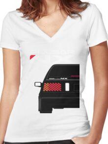 Nissan NX Pulsar Sportback - Black Women's Fitted V-Neck T-Shirt