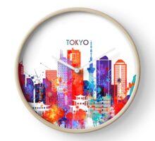 Tokyo watercolor Clock