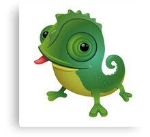 Funny cartoon chameleon Canvas Print