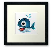 Cute cartoon whale splashing water Framed Print