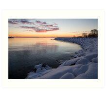 Snowy Pink Dawn on the Lake Art Print