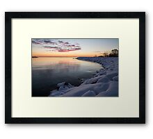 Snowy Pink Dawn on the Lake Framed Print
