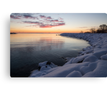 Snowy Pink Dawn on the Lake Canvas Print