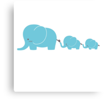 Elephant family following each other Canvas Print