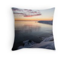 Snowy Pink Dawn on the Lake Throw Pillow
