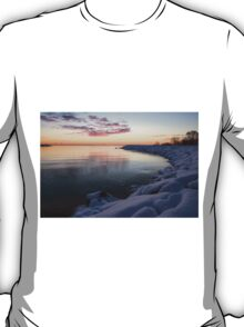 Snowy Pink Dawn on the Lake T-Shirt