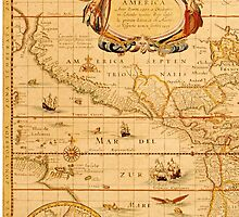 Antique Map of America and the Pacific by HumanlineImages