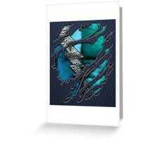 Quick man Silver lightning chest in blue ripped torn tee Greeting Card