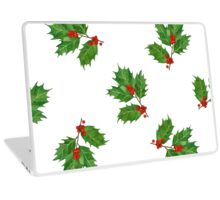 Watercolor christmas pattern with holly Laptop Skin
