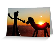 Sunset with Gumby and Pokey Greeting Card
