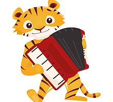 Cartoon tiger playing music with accordion by berlinrob