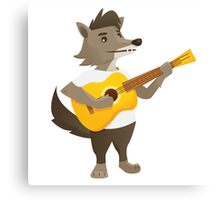 Cute wolf playing music with guitar Canvas Print