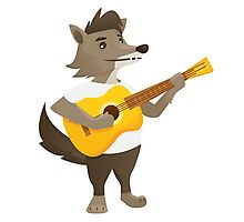 Cute wolf playing music with guitar Photographic Print