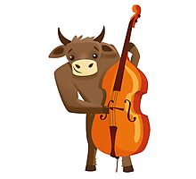 Funny ox playing music with cello Photographic Print