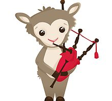 Cartoon sheep playing music with bagpipe by berlinrob