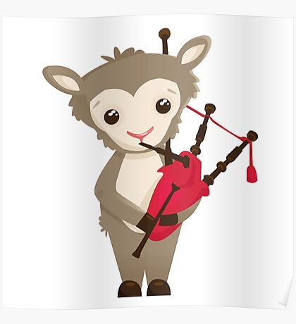 Cartoon sheep playing music with bagpipe Poster