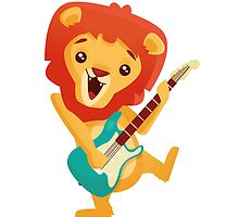 Cartoon lion playing music with electric guitar by berlinrob