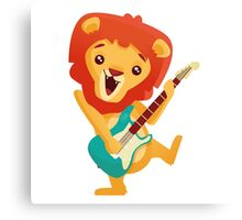Cartoon lion playing music with electric guitar Canvas Print