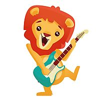 Cartoon lion playing music with electric guitar Photographic Print