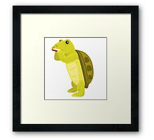 Cute turtle playing music with harmonica Framed Print