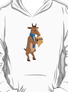 Cartoon goat playing music with panpipe T-Shirt