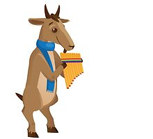 Cartoon goat playing music with panpipe by berlinrob