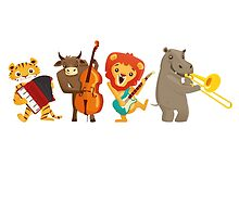 Four funny animals playing in a band by berlinrob