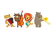 Four funny animals playing in a band Photographic Print