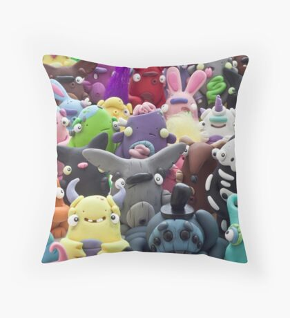 creepy collage Throw Pillow