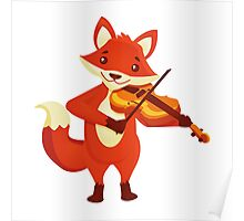 Funny fox playing music with violin Poster