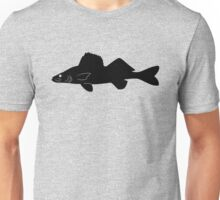 Walleye Pike Fish Silhouette (Black) Unisex T-Shirt
