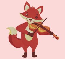 Funny fox playing music with violin Kids Clothes