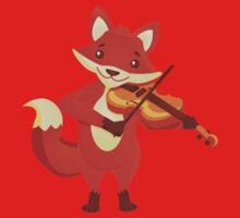 Funny fox playing music with violin Baby Tee