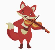 Funny fox playing music with violin One Piece - Long Sleeve