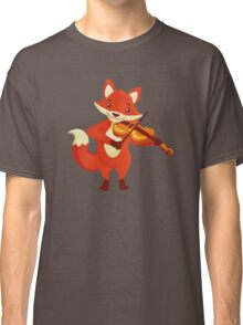 Funny fox playing music with violin Classic T-Shirt