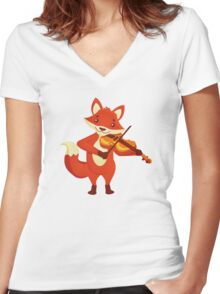 Funny fox playing music with violin Women's Fitted V-Neck T-Shirt