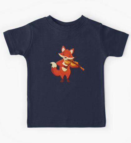 Funny fox playing music with violin Kids Tee