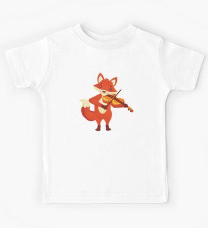 Funny fox playing music with violin Kids Tee