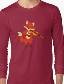Funny fox playing music with violin Long Sleeve T-Shirt