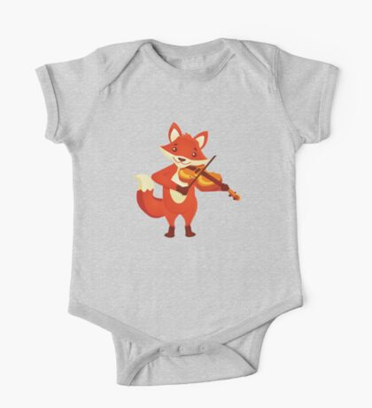 Funny fox playing music with violin One Piece - Short Sleeve