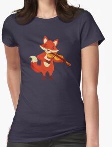 Funny fox playing music with violin Womens Fitted T-Shirt