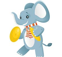 Happy elephant playing music with cymbals by berlinrob
