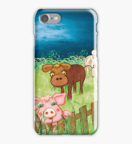The Milkmaid Collection - Illustration Nr. 3 - farm animals iPhone Case/Skin