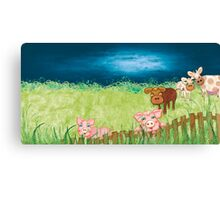 The Milkmaid Collection - Illustration Nr. 3 - farm animals Canvas Print