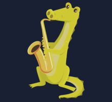 Cartoon crocodile playing music with saxophone Kids Clothes