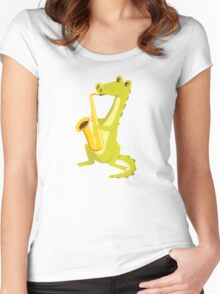 Cartoon crocodile playing music with saxophone Women's Fitted Scoop T-Shirt