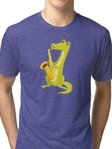 Cartoon crocodile playing music with saxophone Tri-blend T-Shirt